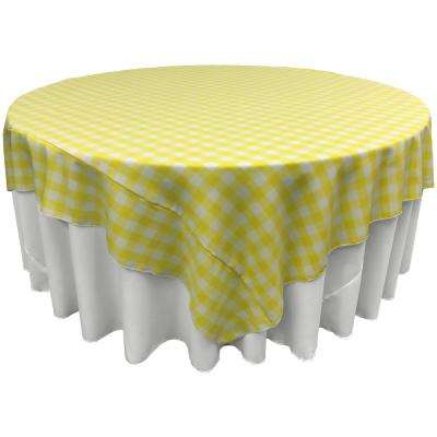"""90 in. x 90 in. White and Light Yellow Polyester Gingham Checkered Square Tablecloth"""