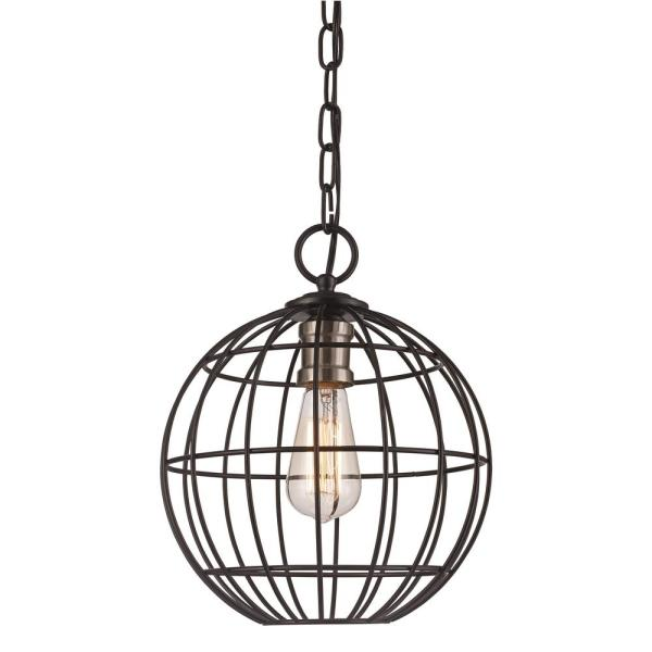 1-Light Black / Brushed Nickel Pendant