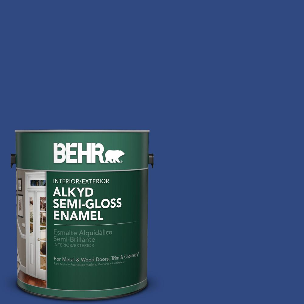 BEHR 1 gal. #P530-7 Tanzanite Semi-Gloss Enamel Alkyd Interior/Exterior Paint