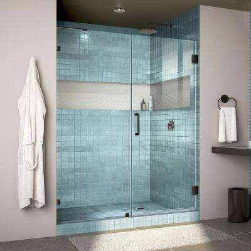 Unidoor Lux 59 in. x 72 in. Frameless Hinged Shower Door in Satin Black & Black - Shower Doors - Showers - The Home Depot