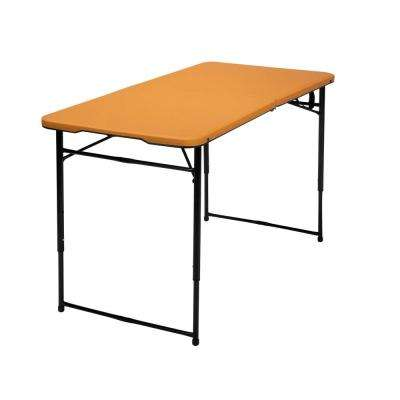 48 in. Orange Plastic Adjustable Height Folding High Top Table