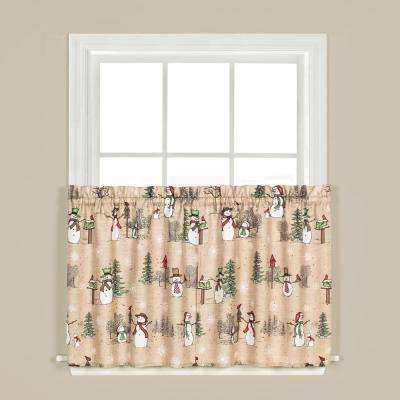 Snowman Land 36 in. L Polyester Tier Pair in Linen (2-Pack)