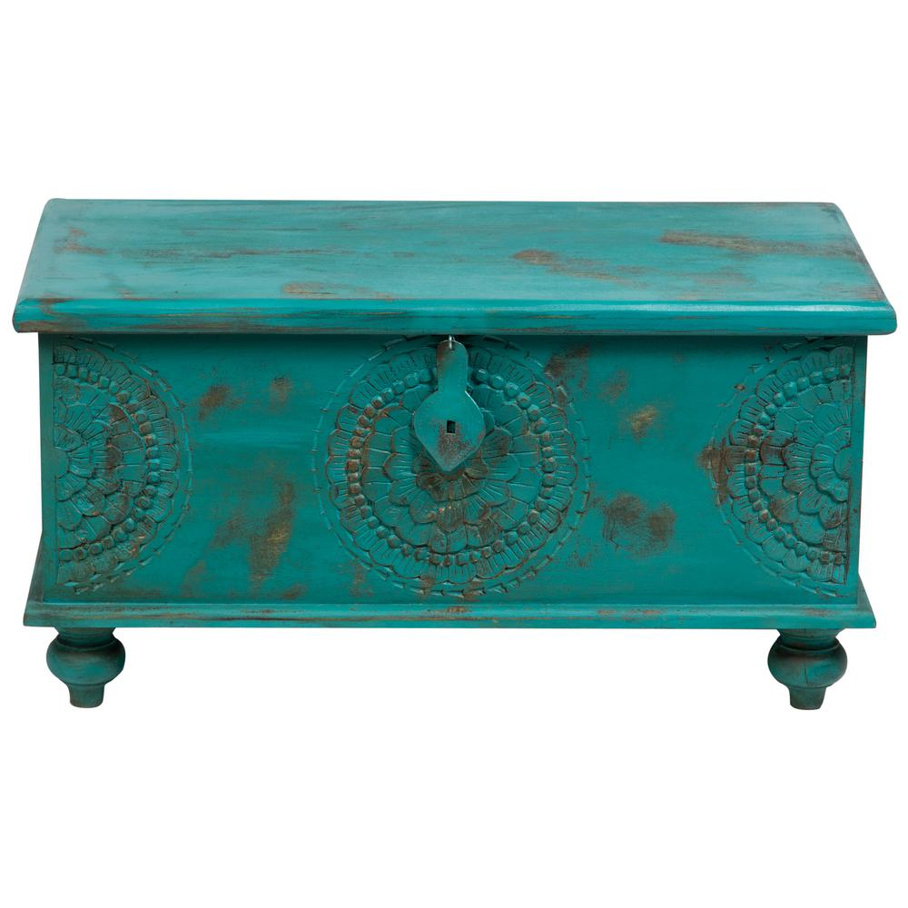 prodigious Teal Storage Trunk Part - 2: Leela Teal Blue Handcarved Medallion Storage Trunk-Coffee Table
