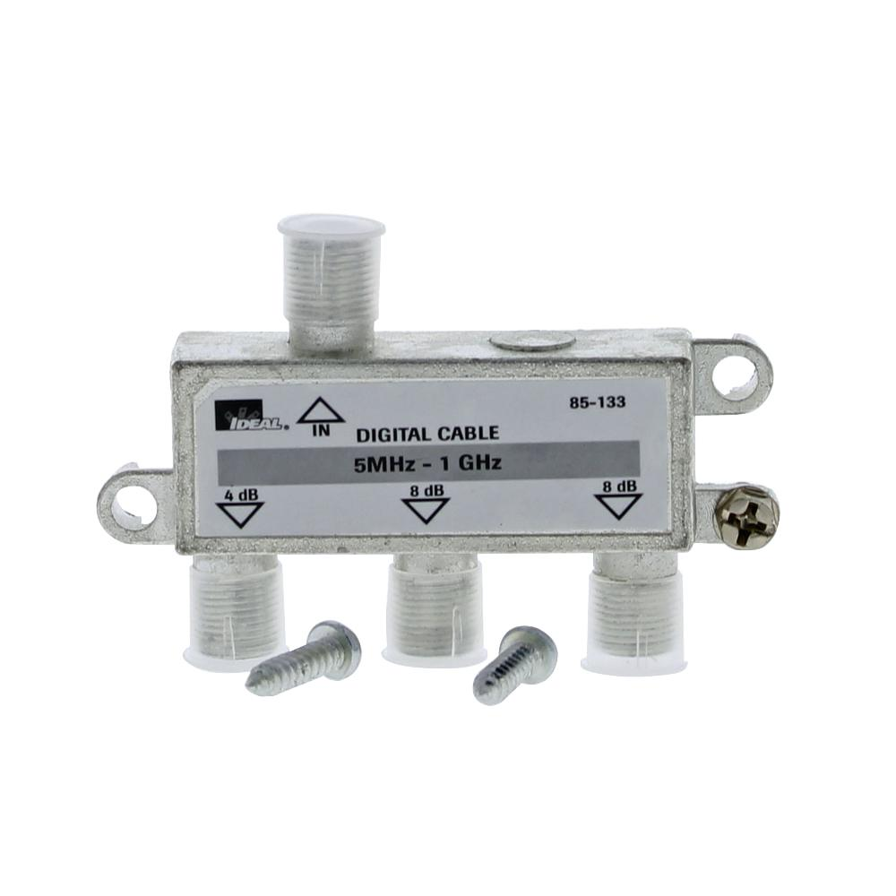 Ideal 5 MHz - 1 GHz 3-Way High-Performance Cable Splitter (Standard Package, 3 Splitters)