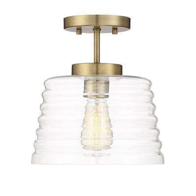 1-Light Natural Brass Semi-Flushmount with Clear glass