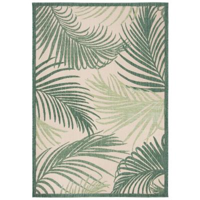Palm Leaf Beige/Green 5 ft. 3 in. x 7 ft. 6 in. Indoor/Outdoor Area Rug