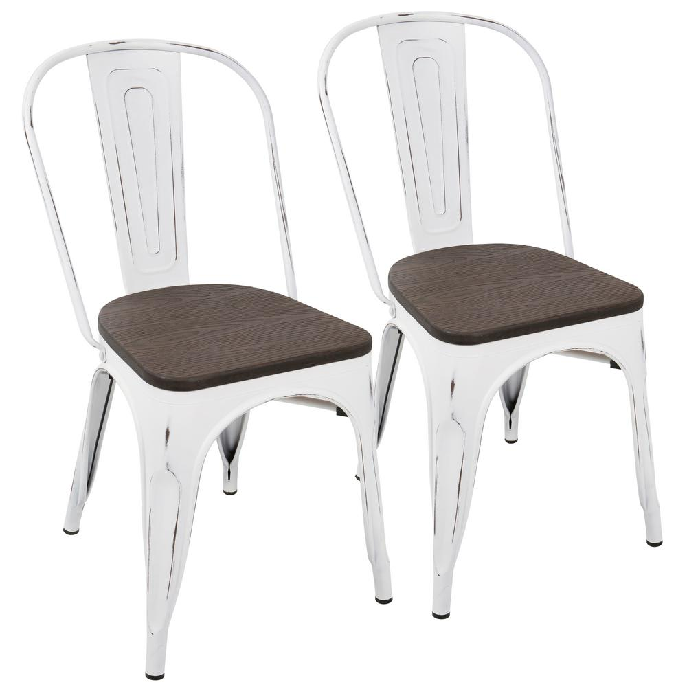 Charmant Lumisource Oregon Vintage White And Espresso Dining Chair (Set Of 2)