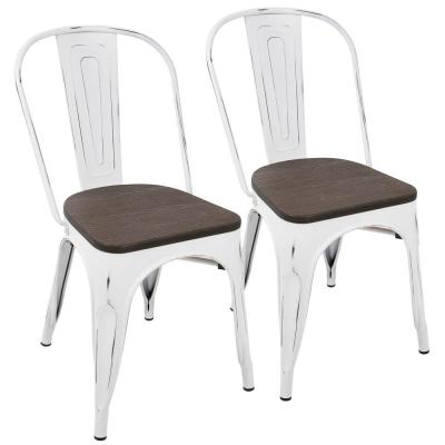 Oregon Vintage White and Espresso Dining Chair (Set of 2)