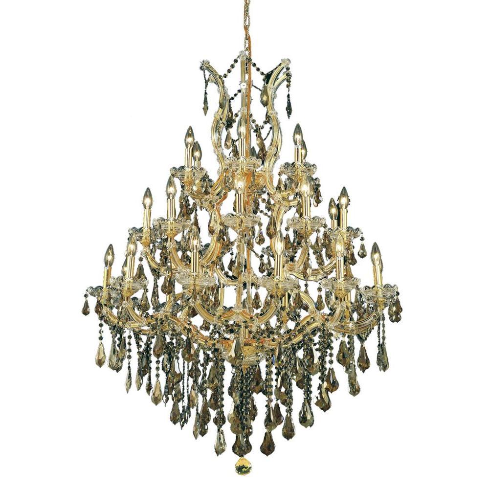 28-Light Gold Chandelier with Golden Teak Smoky Crystal
