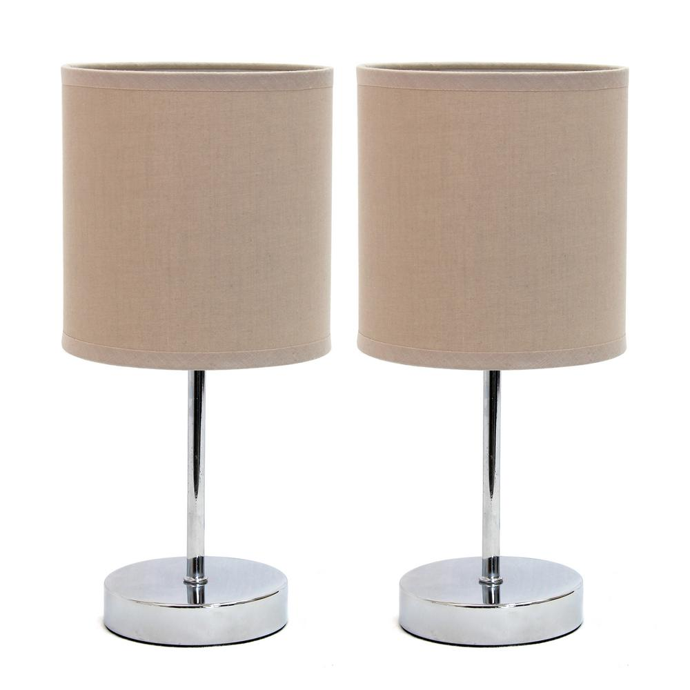 Chrome Mini Basic 11.7 in. Table Lamp with Gray Fabric Shade (2-Pack Set)