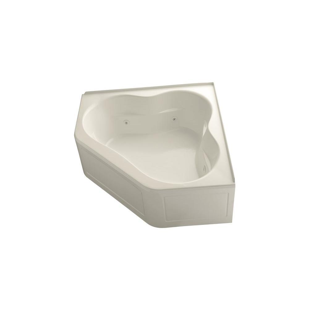 KOHLER Tercet 5 ft. Acrylic Center Drain Neo-angle Straight Corner Alcove Whirlpool Bathtub in Almond