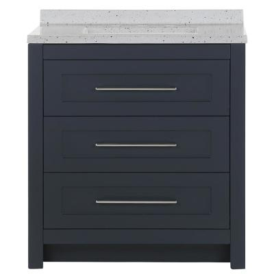 Genta 30.5 in. W x 18.75 in. D Bath Vanity in Deep Blue with Solid Surface Vanity Top in Silver Ash with White Sink