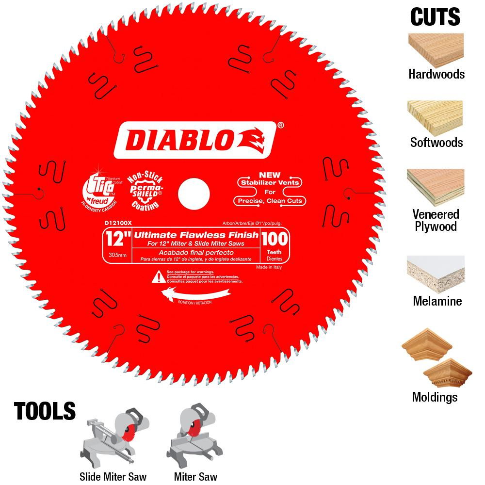 Diablo 12 in x 60 teeth combination saw blade d1260x the home depot 12 in x 100 teeth ultimate polished finish saw blade greentooth Gallery