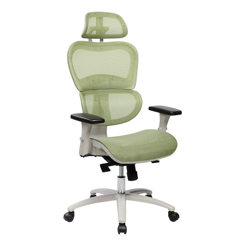 Techni Mobili Green High Back Mesh Office Executive Chair With Neck Support