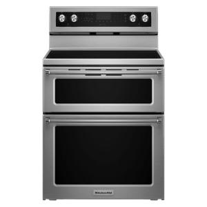 Click here to buy KitchenAid 30 inch 6.7 cu. ft. Double Oven Electric Range with Self-Cleaning Convection Oven in Stainless Steel by KitchenAid.