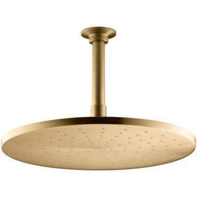 1-Spray Single Function 12 in. Contemporary Raincan Round Showerhead with Katalyst Spray in Vibrant Moderne Brushed Gold