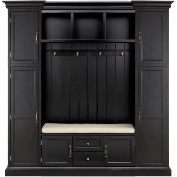 Home Decorators Collection Royce Black 79 25 In Hall Tree 7474200200 The Home Depot