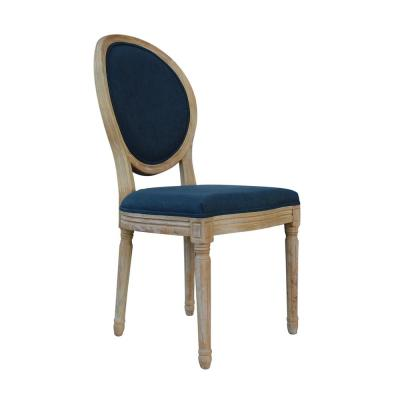 Blue Upholstered Dining Chair French Retro Oval Back Side Chair (Set of 2)