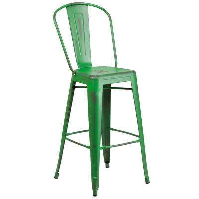30 in. Distressed Green Bar Stool
