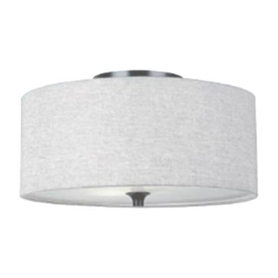 3-Light Brushed Nickel Cloth Pendant Light with Glass Diffuser