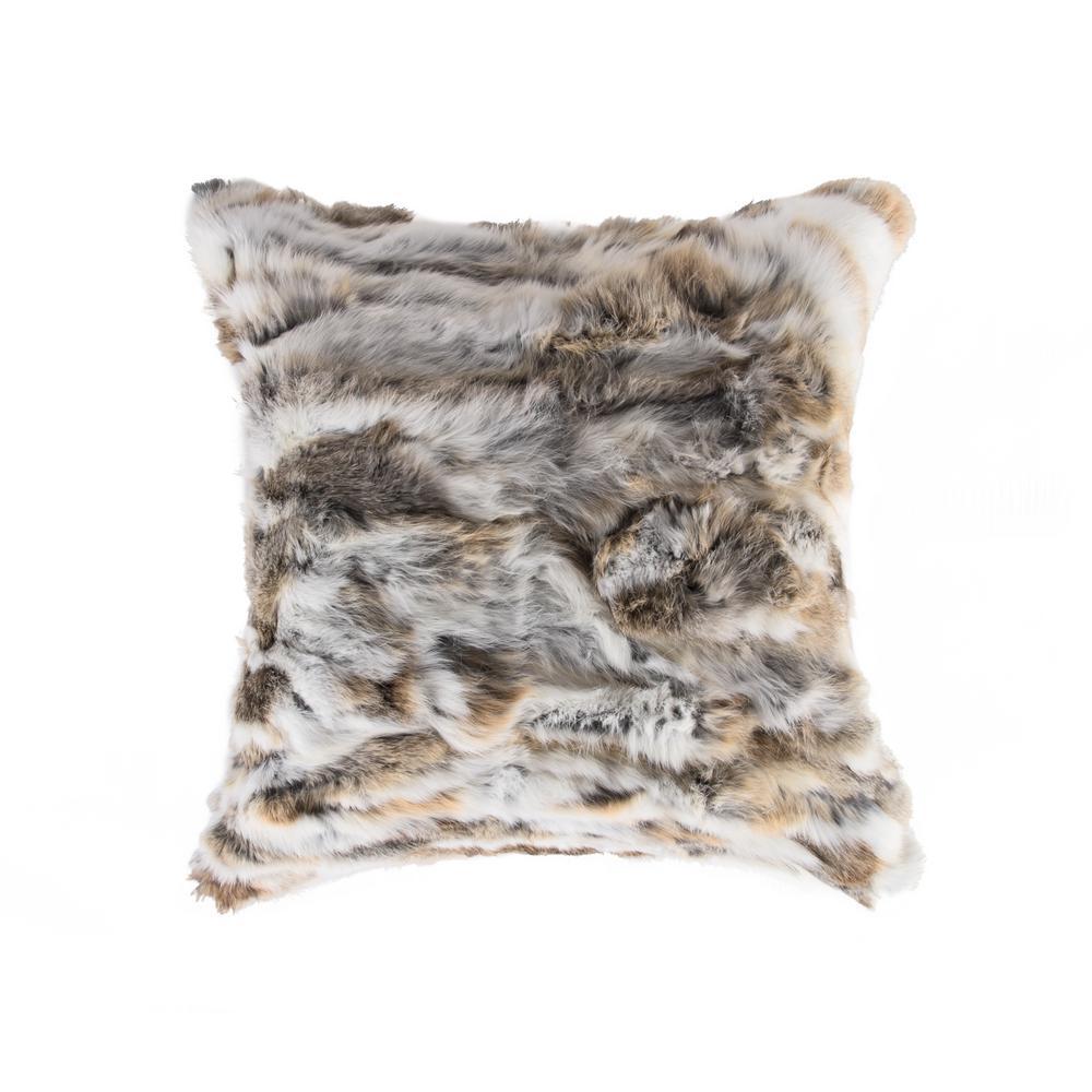 Rabbit Fur 18 in. x 18 in. Tan/White Pillow