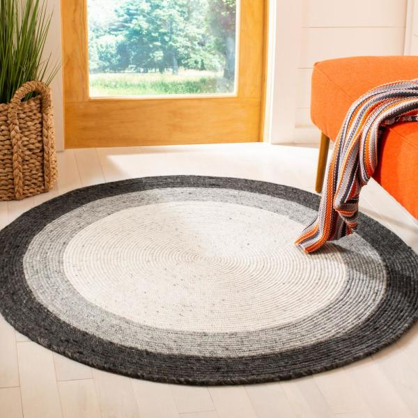 Gray Ivory 5 Ft X Round Area Rug