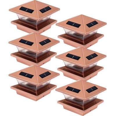4 in. x 4 in. Solar Powered Integrated LED Copper Plated Plastic Post Cap Light for Nominal Wood Posts (6-Pack)