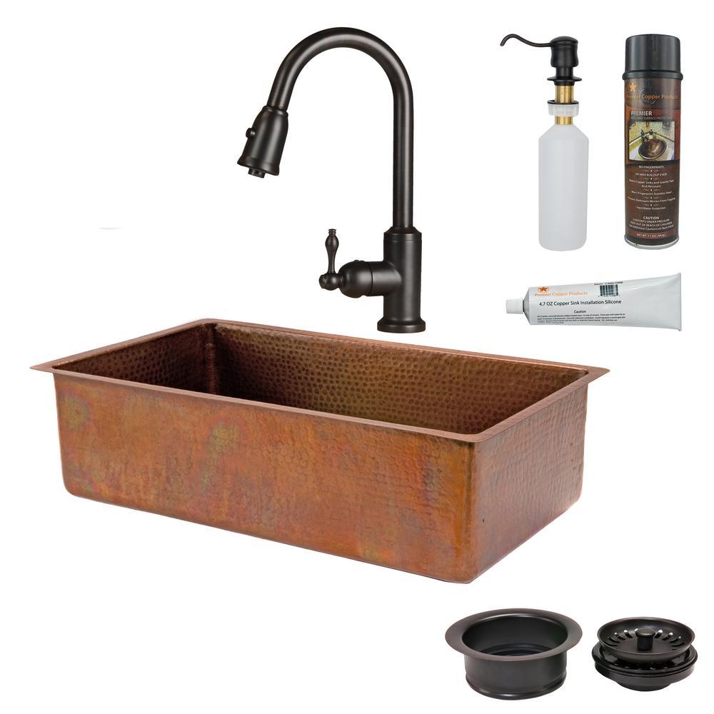 Premier Copper Products All-in-One Undermount Hammered Copper 33 in. 0-Hole Single Bowl Kitchen Sink in Antique Copper
