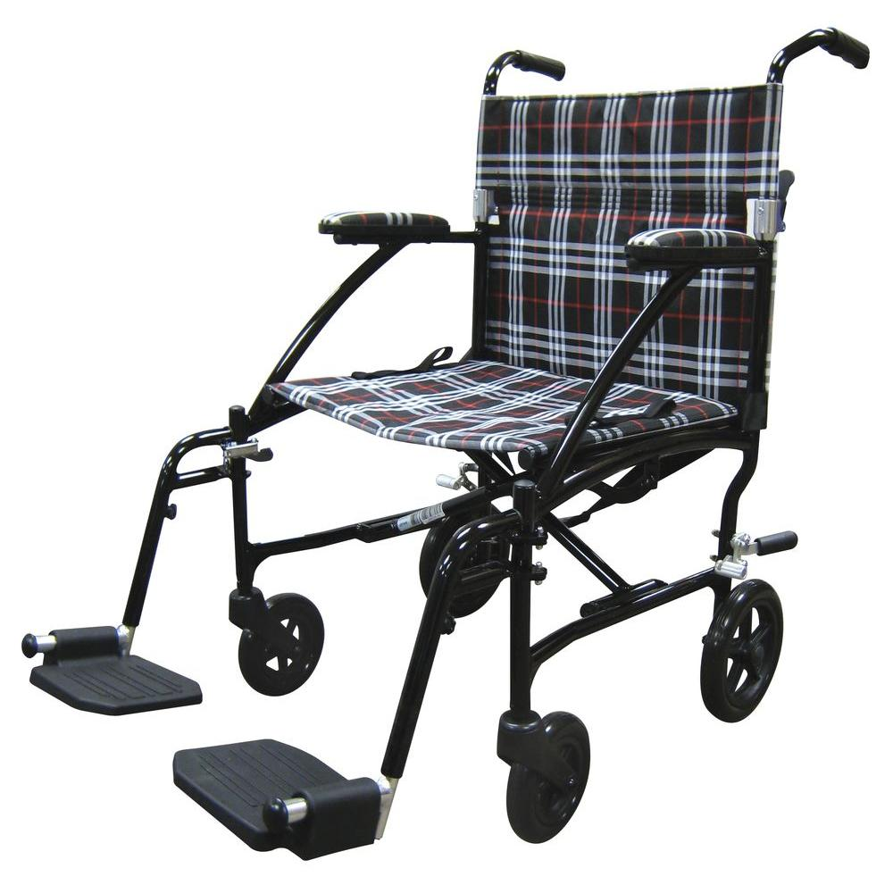 Drive Fly Lite Ultra Lightweight Plaid Transport Wheelchair