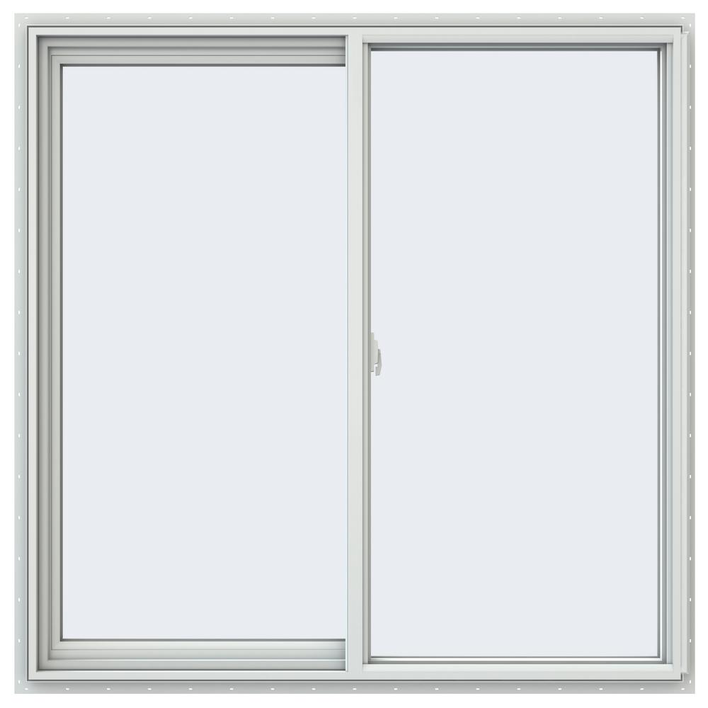 JELD-WEN 47.5 in. x 47.5 in. V-2500 Series White Vinyl Left-Handed Sliding Window with Colonial Grids/Grilles