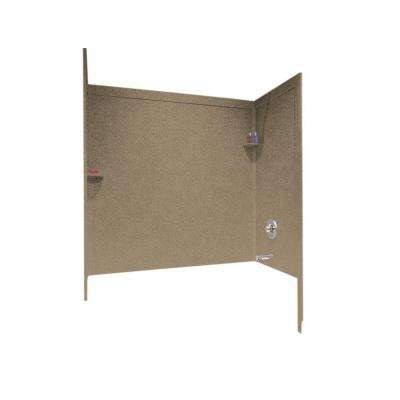 33-1/2 in. x 60 in. x 60 in. 3-Piece Easy Up Adhesive Alcove Surround in Barley