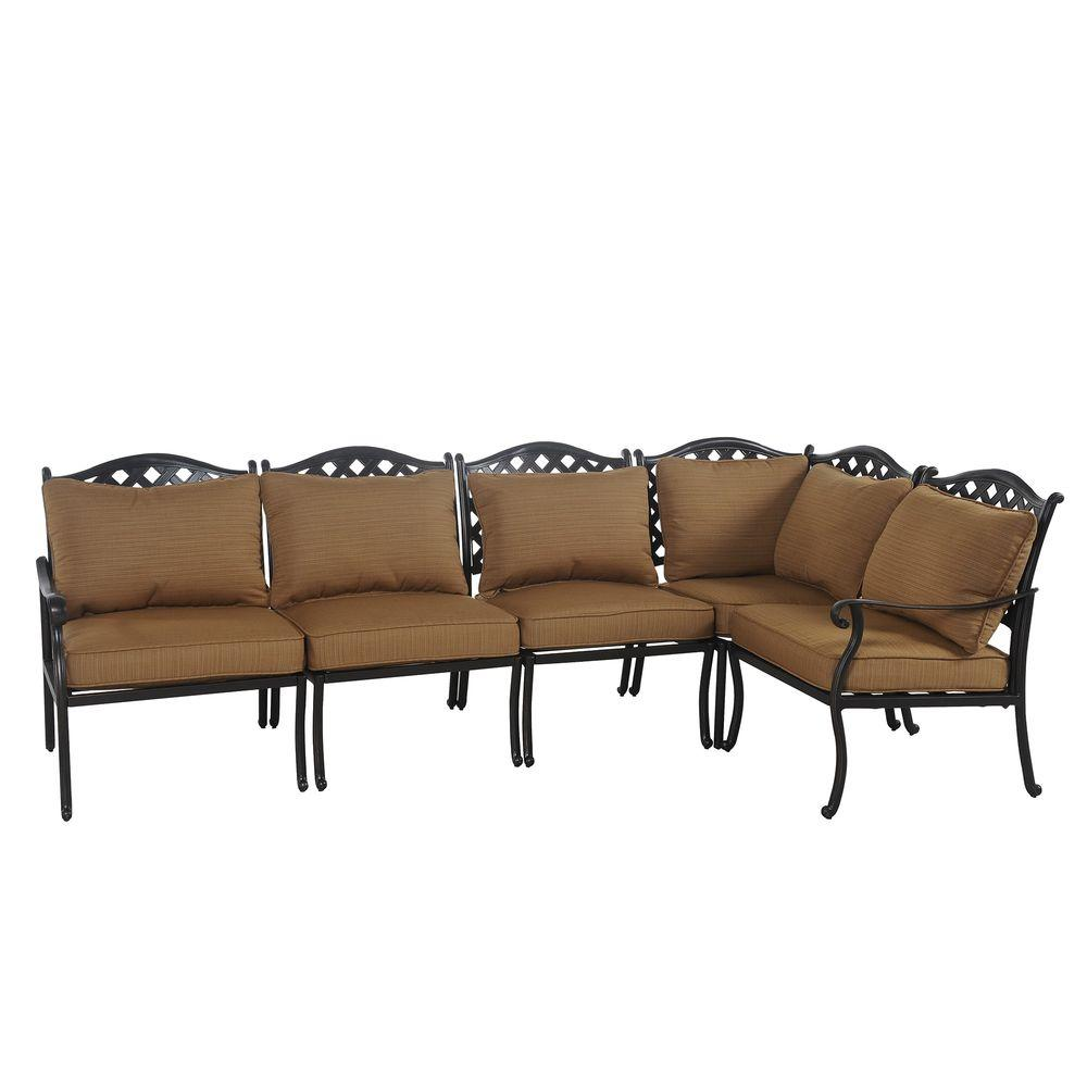 Sunjoy Ruby 5-Piece Patio Sectional Seating Set with Caramel Cushions