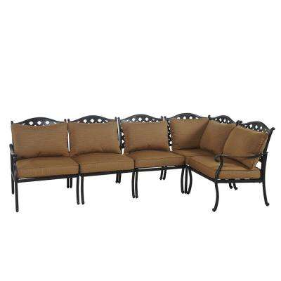 Ruby 5-Piece Patio Sectional Seating Set with Caramel Cushions