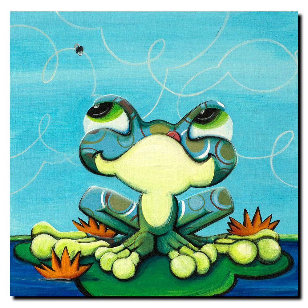 Trademark Fine Art 14 in. x 14 in. Frog's Lunch Canvas Art