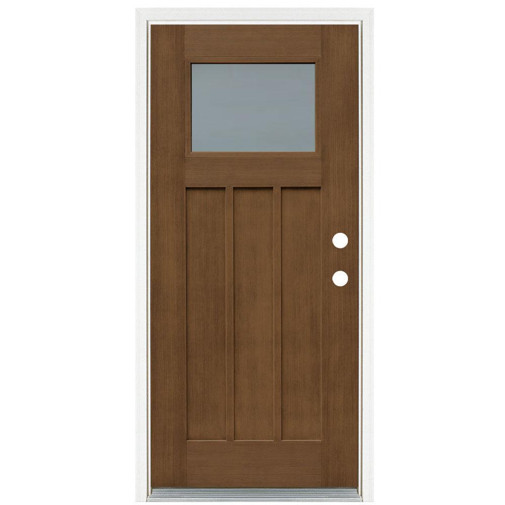 36 in. x 80 in. Medium Oak Left-Hand Inswing Frosted Craftsman Stained Fiberglass Prehung Front Door