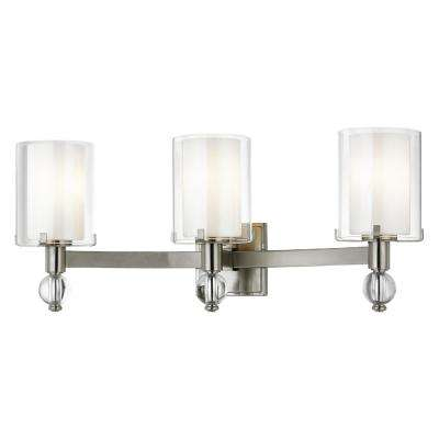 Sofia 3-Light Satin Nickel Sconce with Clear Outer Glass and Opal Inner Glass