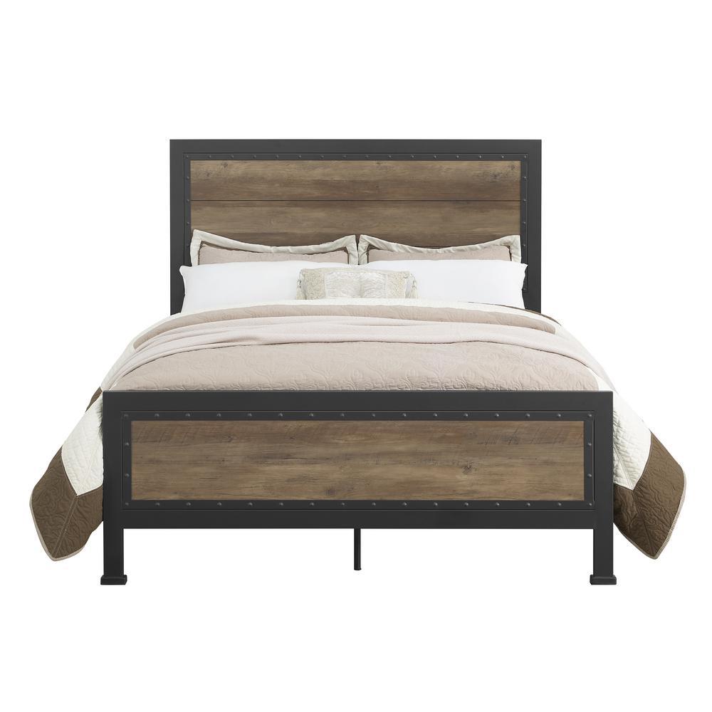 Queen Size Rustic Oak Industrial Wood and Metal Bed