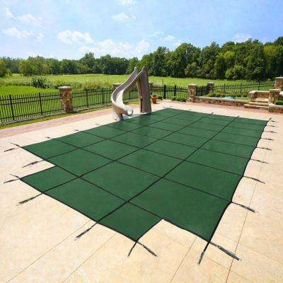 18 ft. x 36 ft. x 8 ft. Center Green End Steps Pool Safety Cover