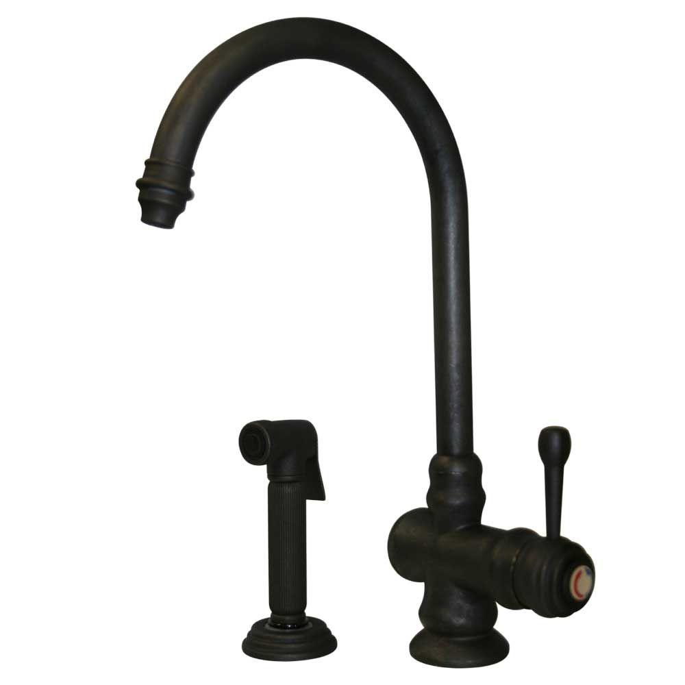 Whitehaus Collection Evolution Single-Handle Side Sprayer Kitchen Faucet in Weathered Bronze