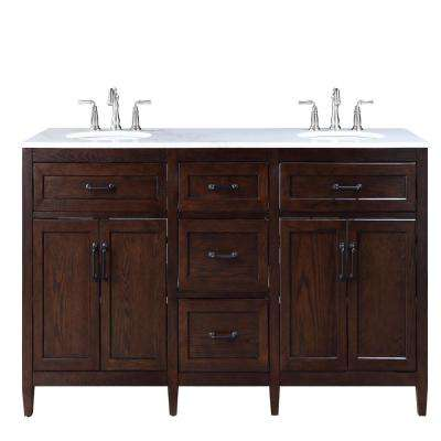 Walden 71 in. W Bath Vanity in Mocha with Vanity Top in White Marble with White Sinks