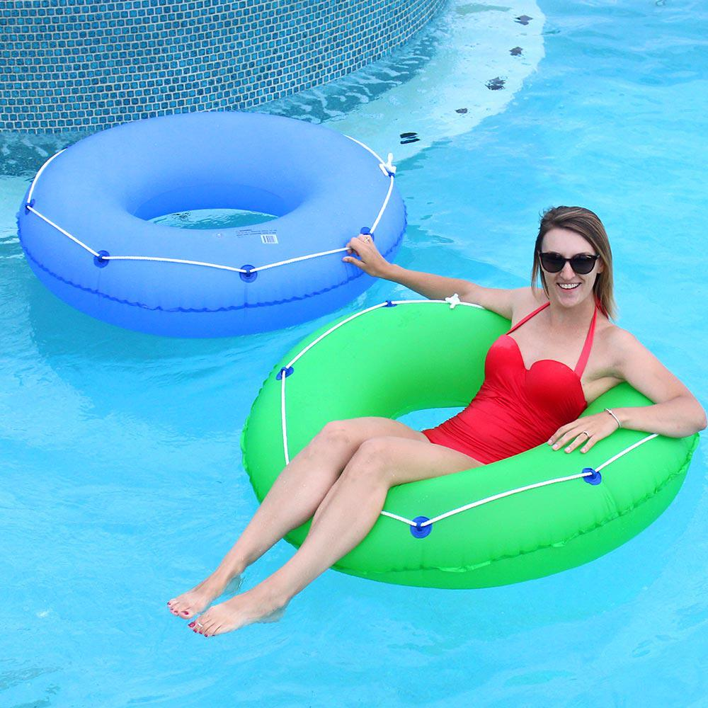 48 in. Blue and Green Swimming Pool Tube Combo (2-Pack), ...