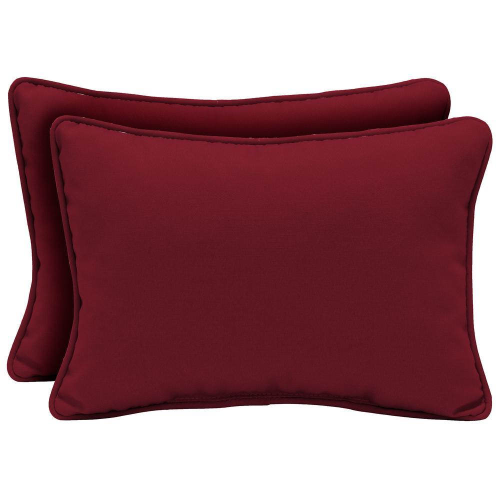 Caliente Canvas Texture Oversized Lumbar Outdoor Throw Pillow (2-Pack)