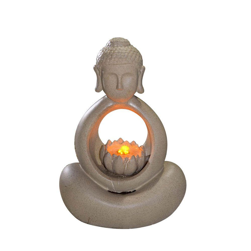 Outdoor Water Fountains Home Depot: Jeco Buddha Water Fountain With LED Light-FCL111