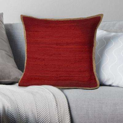 Riley Red 20 in. x 20 in. Chindi/Jute Decorative Throw Pillow