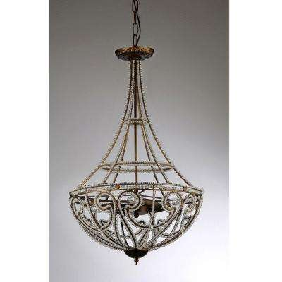 Hercules Scale 4-Light Antique Bronze Chandelier with Shade