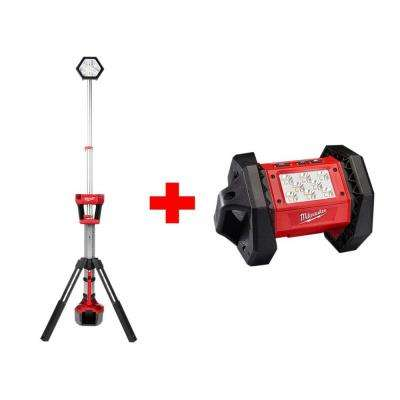 M18 18-Volt Lithium-Ion Cordless Rocket Dual Power Tower Light with M18 LED Flood Light