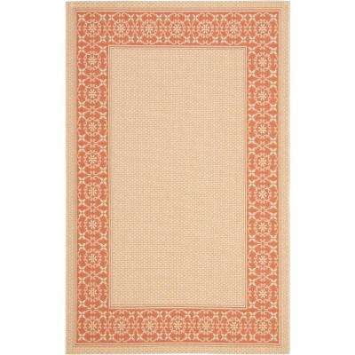 Courtyard Cream/Terracotta 8 ft. x 11 ft. Indoor/Outdoor Area Rug