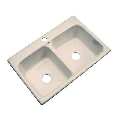 Newport Drop-In Acrylic 33 in. 1-Hole Double Bowl Kitchen Sink in Candlelyght