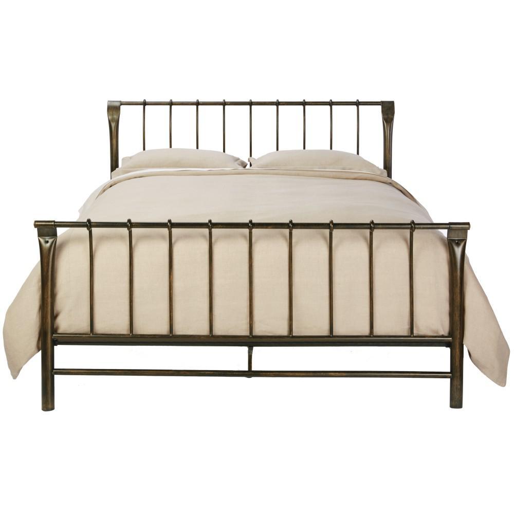 Marquette Antique Brass Queen Sleigh Bed
