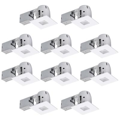 4 in. New Construction and Remodel White Die-Cast Recessed Lighting Kit (10-Pack)
